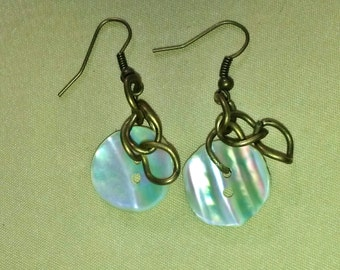 Vintage Mother of Pearl Earrings  Button Jewelry