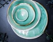 Porcelain Bowl, Watercolour, Gold Lustre, Turquoise Ceramics, Green Bowls, Irish Pottery, Dipping Bowl, Ring Dish