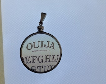 Witchy Witchboard Ouija Board Transparent Glass Locket Necklace. Original Transparent Photography. Unique.