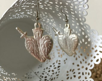 Stunning Authentic Mexican Pewter Sacred Heart Earrings. Sacred Heart with Sword. Very limited availability. Milagros