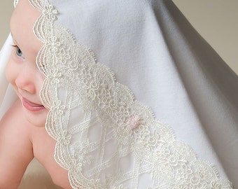 Charlotte Receiving Blanket, White Cotton with Ivory Lace