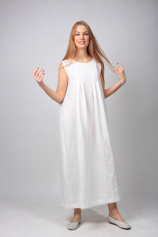 Linen dress long linen dress loose summer dress linen for Long linen shirts for womens