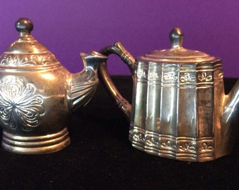 Silver Plated Tea Pot Salt and Pepper Shakers