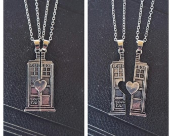 Doctor Who Couples / Best friends Split Tardis Necklace
