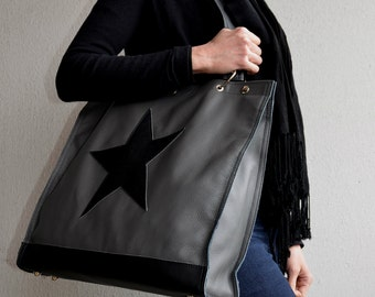 Grey Leather Tote, Leather Tote with Star, Leather Handbag, Grey Tote Bag, Star Leather Bag, Large Tote Bag, Shopping Tote, Leather Star Bag