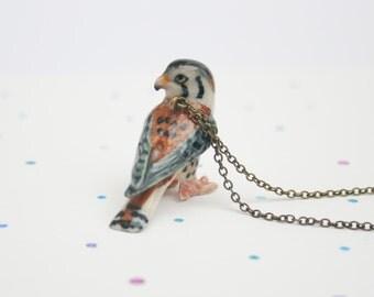 Kestrel porcelain bird necklace - bird of prey pendant on brass chain