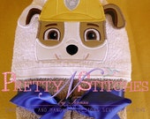 Construction Puppy Peeker Applique Embroidery Design (5X7 Hoop) includes 3D and non 3D