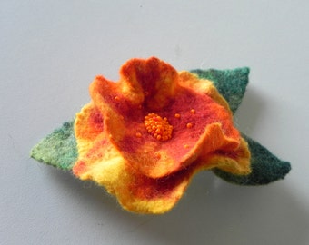 Orange felt flower hair clip, flower barrett, red yellow felted hair barrett
