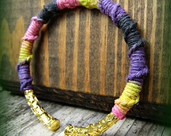 Hemp Wrapped Gold Open Bangle - Macrame Black, Purple, Pink, Yellow Hemp Bracelet Cuff