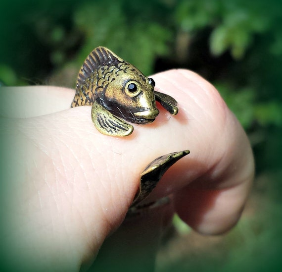 Bronze fish ring adjustable koi fish wrap ring by for Koi fish ring
