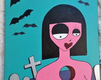 Lowbrow Pop Surreal Art Original Acrylic Painting - Grave Watcher