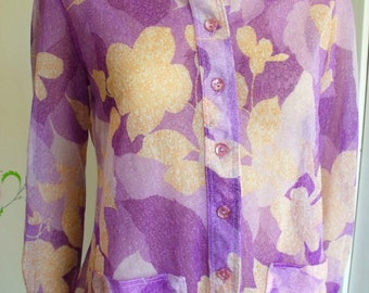 70's Disco Shirt/Sheer Purple With Orange Flowers/Fly Collar/Big Collar/Three Flaggs/Vintage Shirt/1970's