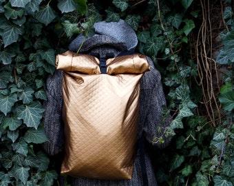 Gold Urban messenger backpack laptop bag