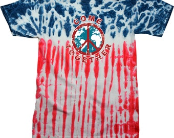 Come Together Adult Patriotic Tie Dye Tee T-Shirt TOGETHER-1000P