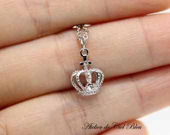 Tiny Crown Necklace, Silver Crown Necklace, Silver Crown Charm Necklace, Tiara Necklace, Princess Crown Necklace, Silver Plated, Rhinestone