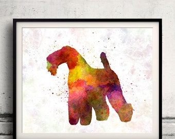 Kerry Blue Terrier 02 in watercolor 8x10 in. to 12x16 in. Fine Art Print Glicee Poster Decor Home Watercolor Illustration - SKU 1214