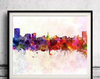 Niigata skyline in watercolor background - Poster Digital Wall art Illustration Print Art Decorative - SKU 1341