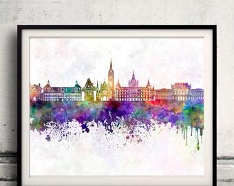 Graz skyline in watercolor background - Poster Digital Wall art Illustration Print Art Decorative - SKU 1406