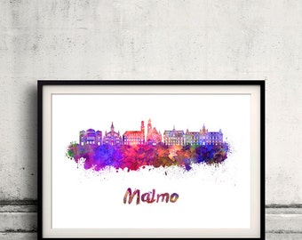 Malmo skyline in watercolor over white background with name of city - Poster Wall art Illustration Print - SKU 1613