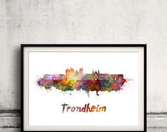 Trondheim skyline in watercolor over white background with name of city - Poster Wall art Illustration Print - SKU 1620