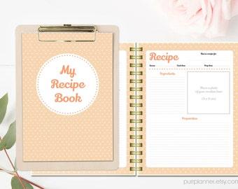 Printable recipe book binder, blank cook book, personalized recipe organizer, letter cookbook, bridal shower gift