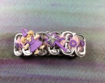 Recycle Pop Tab Barrette: Purple Fairy Princess