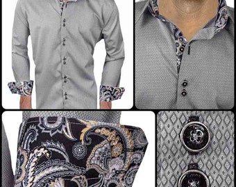 Grey with Black and Gold Metallic Men's Designer Dress Shirt - Made To Order in USA