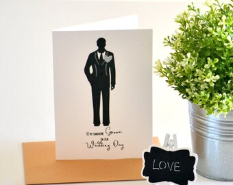 Groom Card - Wedding Day Card Groom - Bride to Groom Card - On Our Wedding Day - Black - Monochrome -For the Groom - Tuxedo - WED019