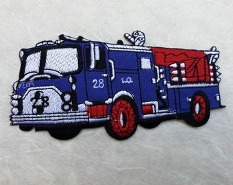 Fire Engine Iron on patch (L) 12 x 6.1 cm - Fire Engine Applique Embroidered Iron on Patch