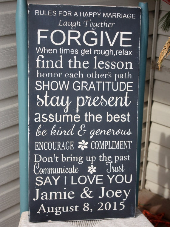 1 Year Wedding Gift Rule : Rules for a happy marriage, personalized wedding gift, Wooden Sign ...