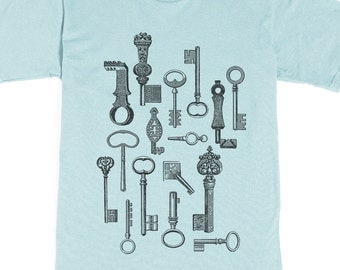 Men's Graphic Tee - Skeleton Key Shirt - Key T-shirt - Vintage Keys - Graphic Tee on American Apparel
