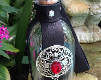 Glass Leather Beads Potion Poison Bottle with Skull and Crossbones Renaissance Belt Flask Pirate Gypsy Fairy
