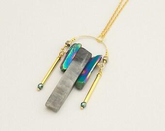 Raw Aura Quartz Labradorite Geometric Necklace Gold Titanium Crystal Point Necklace Rainbow Quartz Pendant Long Boho Layer Necklace