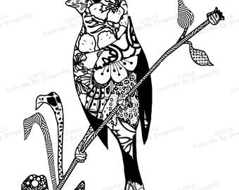 Bird Art, Adult Bird Art, Bird Doodle, Adults Bird Art, Coloring Page PDF Download, Print Out Yourself, Bird Doodle  Coloring Page.