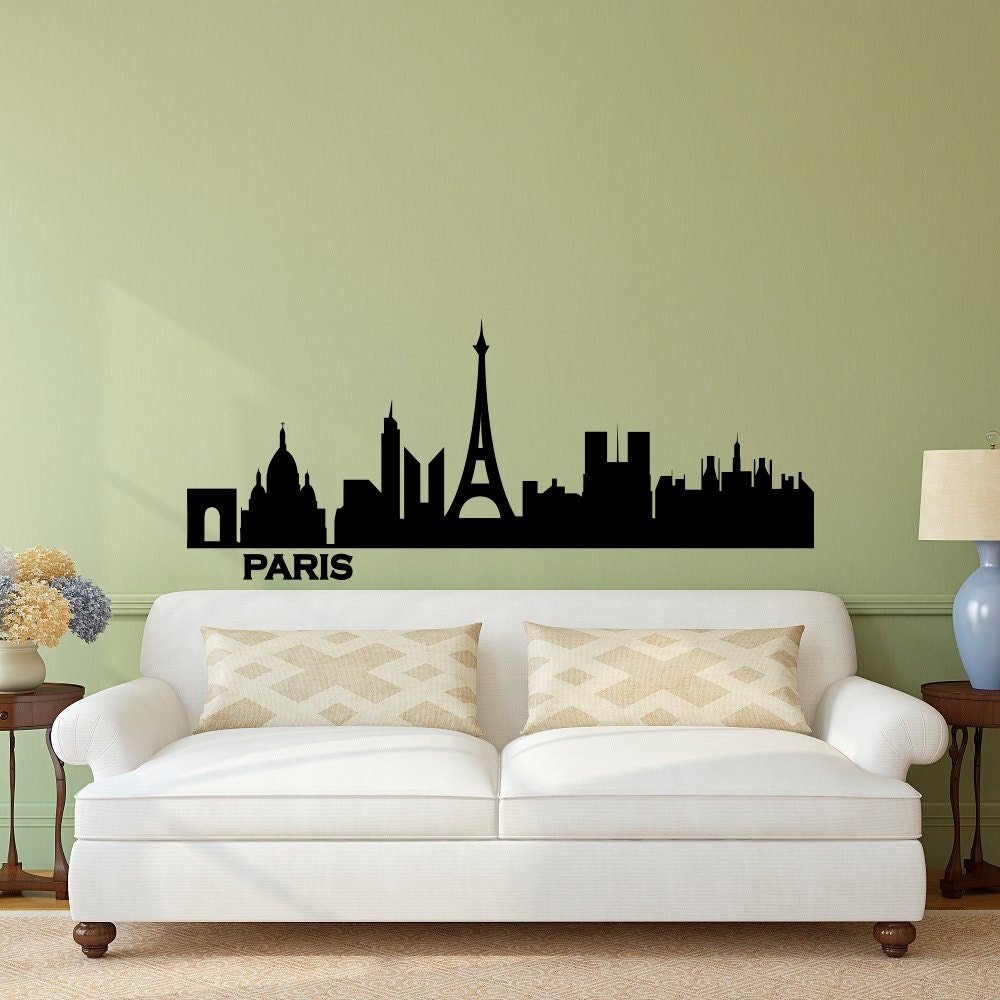 paris skyline wall decal vinyl sticker city silhouette france. Black Bedroom Furniture Sets. Home Design Ideas