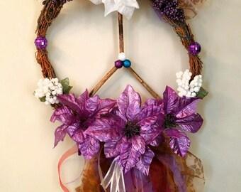 Purple Peace Flower Deer Love Wreath