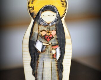 Saint Madeleine Sophie Barat //  Natural Wood Custom Handmade Saint