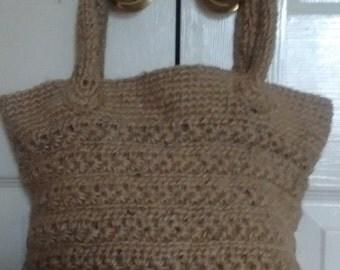 Knitted crochet jute tote bag, knitted tote, patterned tote, crochet tote, crochet purse, crochet handbag, jute shopper, market bag