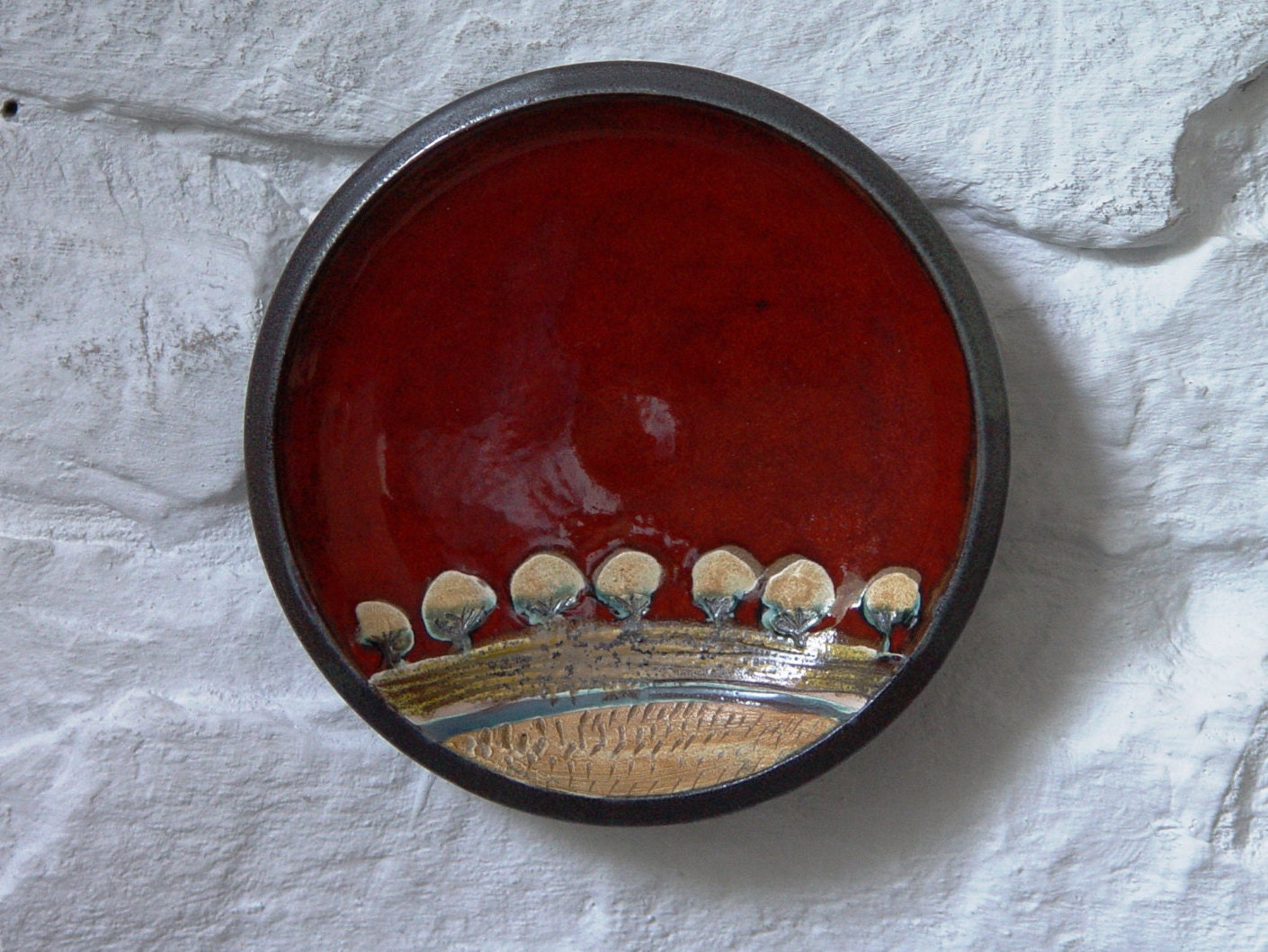Red Ceramic Plate Wall Hanging Pottery Plate Ceramic