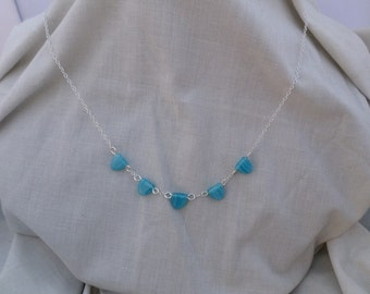 Blue and White Czech Trianglar Beads Sterling Silver Chain Necklace