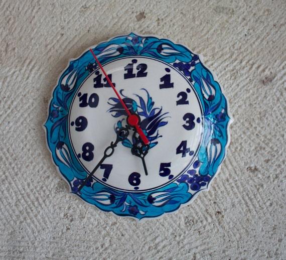 Clock, Handmade Ceramic Clock, Homedecor, Wall Decoration Clock, Ceramic Wall Clock, Floral Design Wall Decoration, Handpainted Flower Clock