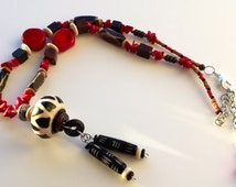 African Pendant Necklace , Red Stone Black Bone Pendant Necklace, Red and Black Pendant Necklace, Studio Designed, African Jewelry,
