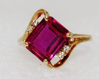 July Birthstone - Vintage 10k Gold Synthetic Ruby Stone Mid Century Modern Ring Size 7.25