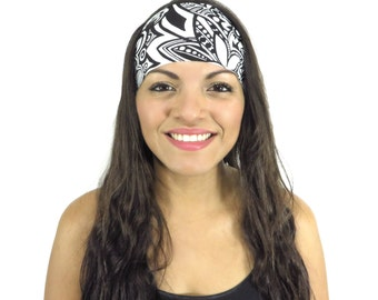 Black and White Yoga Headband Fitness Headband Workout Headband Nonslip Headband Hair Accessories Running Spandex Wide women Headband S193
