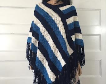 Vintage 70s Crochet Poncho with Fringe  - Boho Hippie Poncho - Blue & White Striped 1970s Poncho