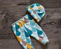 Baby Leggings and OPTIONAL Hat Set - White with Light Blue, Teal, Dark Turquoise, Brown, and Rust Leaves Print Organic Knit