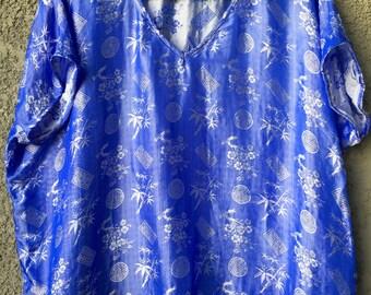 Blue Vietnamese silk top
