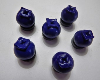Set of 6: Handmade Blueberry Fruit Magnets Made of Polymer Clay