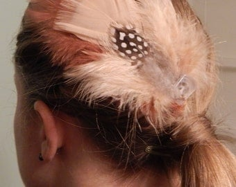 Handmade Tan, Rust and Grey Feather Hair Clip with Button