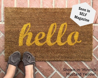 Hello Script welcome mat / Hand painted, custom doormat / Housewarming Gift / Wedding Gift / Summer Decor / Unique Gifts / Gifts for Her